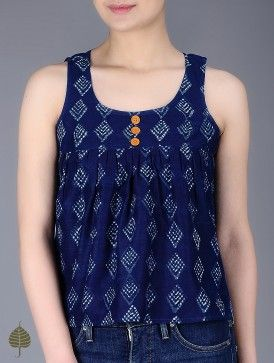 Indigo Natural Dyed Dabu Printed Pleated Chanderi Top by Jaypore