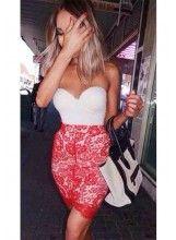 V-cut Lace Boobtube Dress - AU$49.99. Feel free to pin:). @celebrityfashionlookbook.com