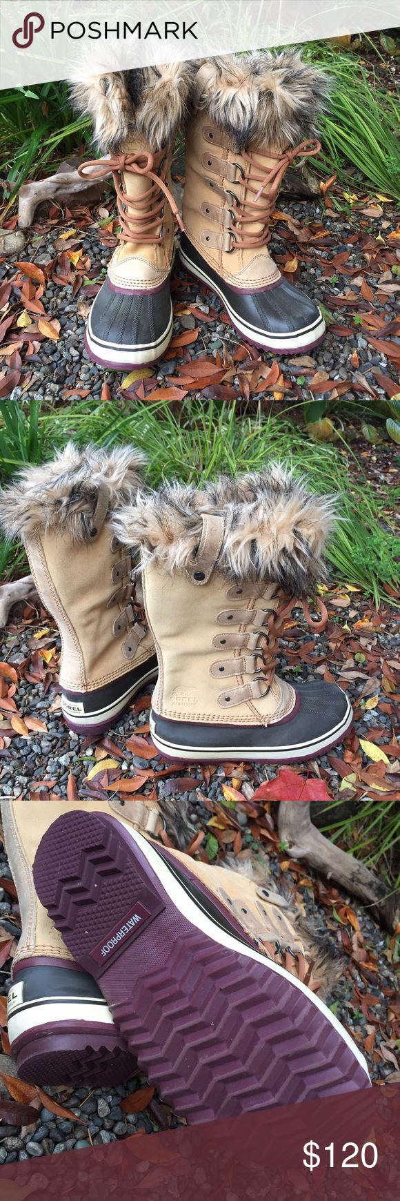 Sorel Joan Of Arc Boots Sorel Joan of Arctic Boots.  In excellent condition..  Suede Leather  uppers with rubber toes and sole.  Removable felt liner with Faux fur.  Pull on boots.  These are super cute and will keep your feet warm in style.  Still in the stores. Sorel Shoes Winter & Rain Boots