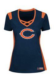 Chicago Bears Womens Navy Blue Draft Me V-Neck