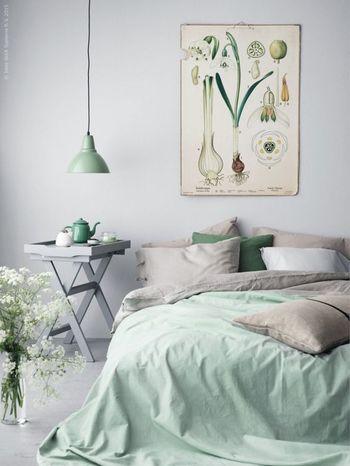 こちらは、淡いグリーンをベッドカバーやピローケースに取り入れたアイデア。フレッシュでクリーンな印象がベッドルームにはぴったりですね。照明やティーポットなど、インテリアにもさりげなくグリーンをプラスすれば、お部屋全体に統一感が生まれます。                                                                                                                                                                                 もっと見る
