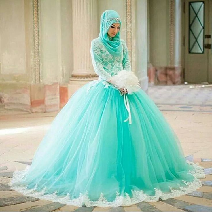 Find More Wedding Dresses Information about Fantasy Mint Bridal Dress with Scoop Neckline White Lace Appliques Ball Gown Floor Length Long Muslim Wedding Dress 2016,High Quality dresses office,China dress autumn Suppliers, Cheap dresses night from Suzhou Yast Wedding Dress Store on Aliexpress.com
