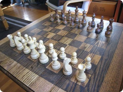 "DIY Chess Table - make your own chess table. Tournament size rules dictate that the chess board have 2 ¼"" squares, and the king from the set of chess pieces be between 3 ¾"" and 4 ¼"". A wood chess board with a 2 1/4"" square can be 20"" x 20"". 64 squares; 8 wide x 8 long; 18"" x 18"" with additional one inch border on each side."