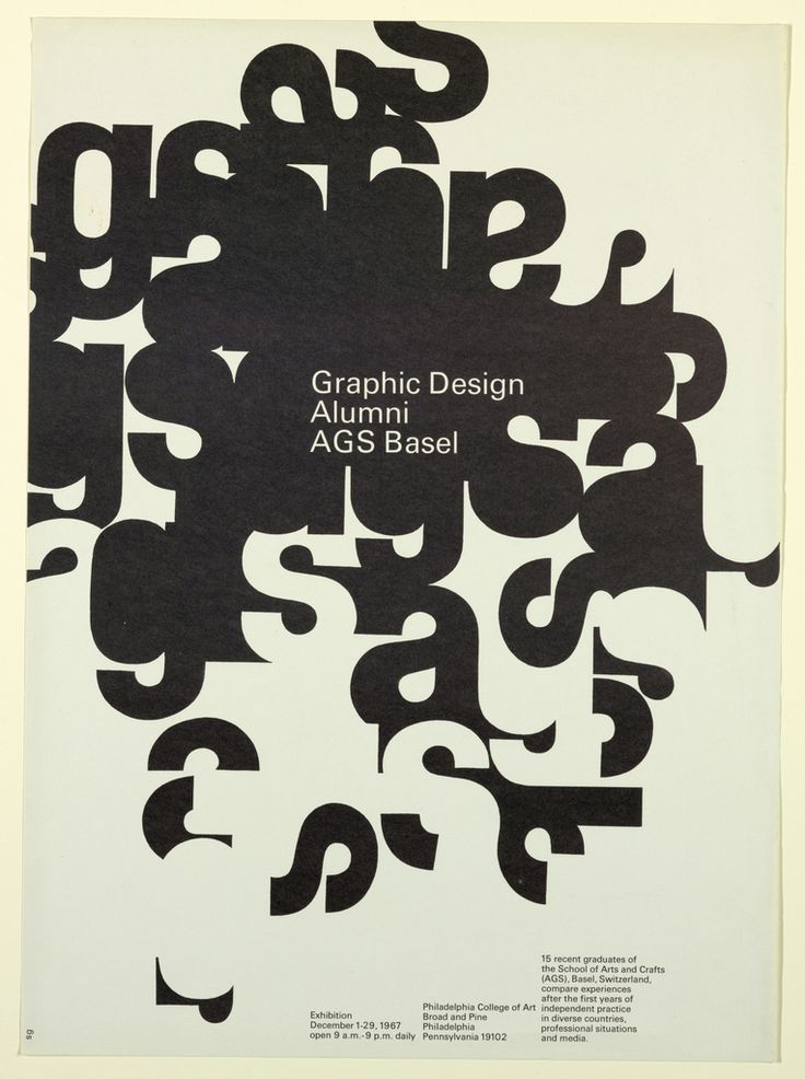 Dan Friedman, Graphic Design Alumni AGS Basel, Philadelphia College of Art, December 1-29, 1967