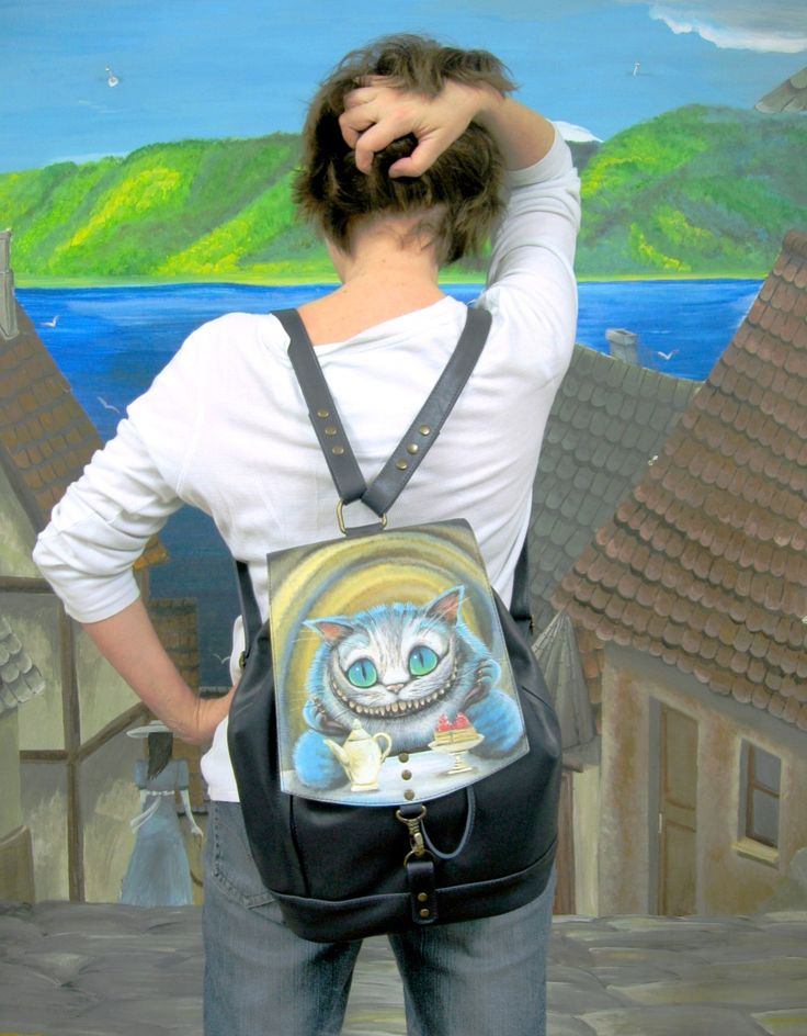 Leather backpack with hand-painted  the Cat  blue backpack  dark blue  leather bag - pinned by pin4etsy.com #Leather #backpack #hand_painted #CheshireCat #AliceinWonderland #Alice #Wonderland #Alice_in_Wonderland