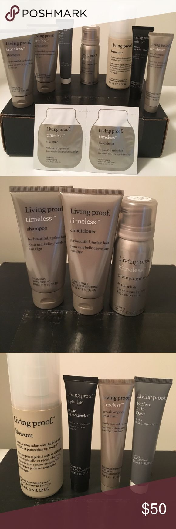 Living Proof timeless 7 piece box set NEW IN BOX Living proof box set. Includes:2 oz timeless shampoo, 2 oz timeless conditioner, 1.9 oz timeless plumping mousse, 5 oz blowout, 1 oz style lab prime style extender, 1 oz perfect hair day and 1 oz timeless pre shampoo treatment. Also included as a BONUS .33 oz timeless shampoo and conditioner.  Comes from a smoke free pet free home. Makeup