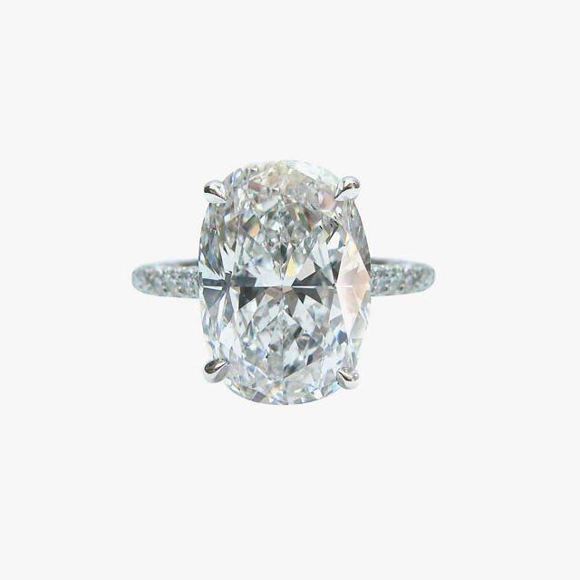 5.00 Carat GIA Cert oval diamond platinum engagement ring, price upon request, 1stdibs.com