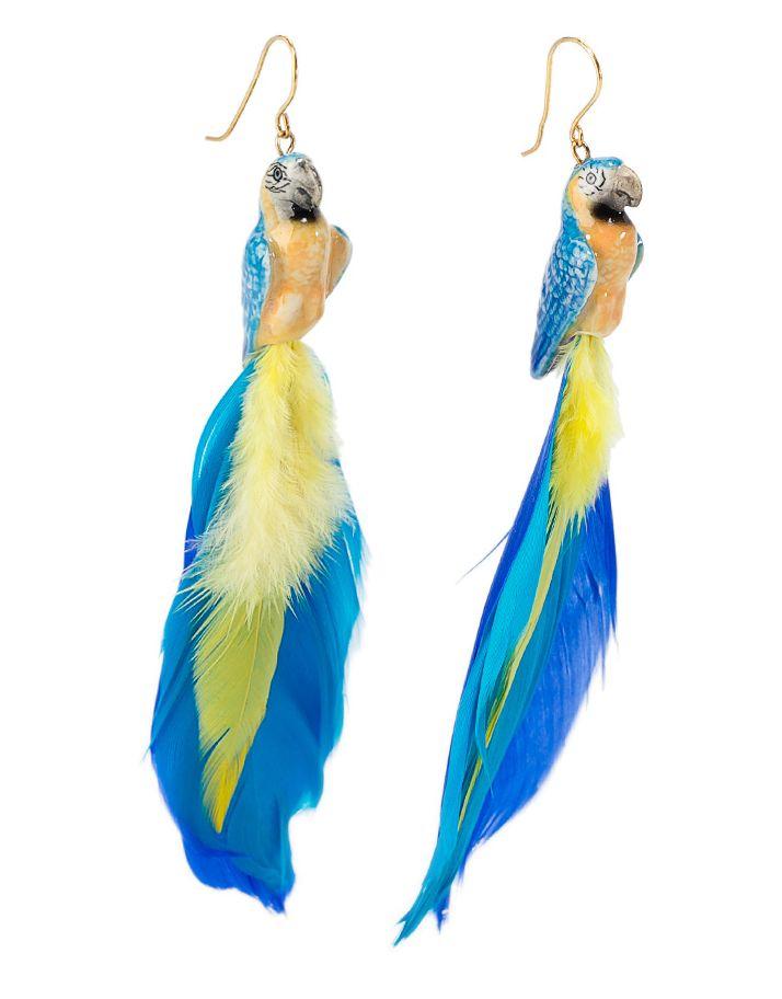 Boucle d'oreille perroquet bleu J008 : Nach Bijoux