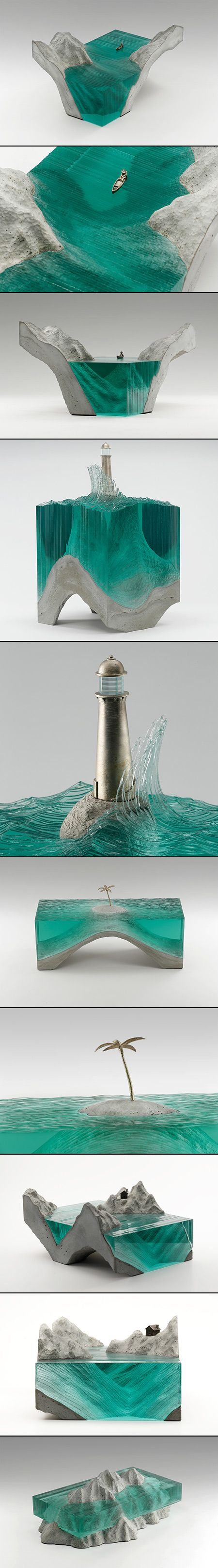 Sculptor Ben Young  just unveiled a collection of new glass sculptures prior to the Sculpture Objects Functional Art + Design (SOFA) Fair in Chicago next month. Young works with laminated clear float glass atop cast concrete bases to create cross-section views of ocean waves that look somewhat like patterns in topographical charts.