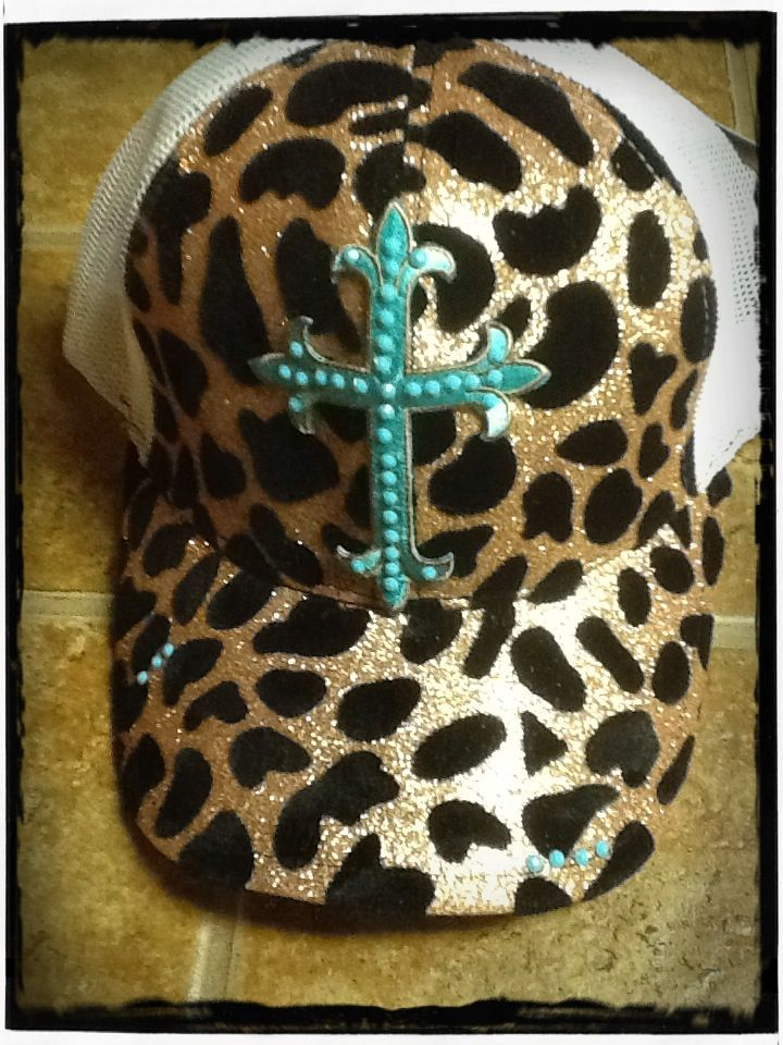 Turquoise cross on gold cheetah hat...Hey Sister Boutique hat made with swarvorski crystals several to choose from check us out on facebook. $30