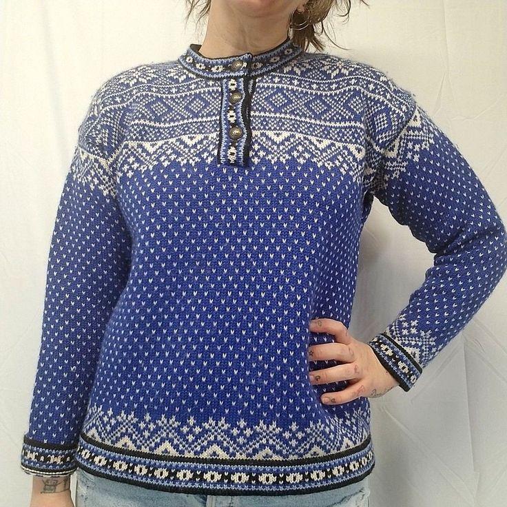 Vtg LL BEAN Blue White Black Nordic Fair Isle 100% Merino Wool Sweater Womens M #LLBean #Crewneck