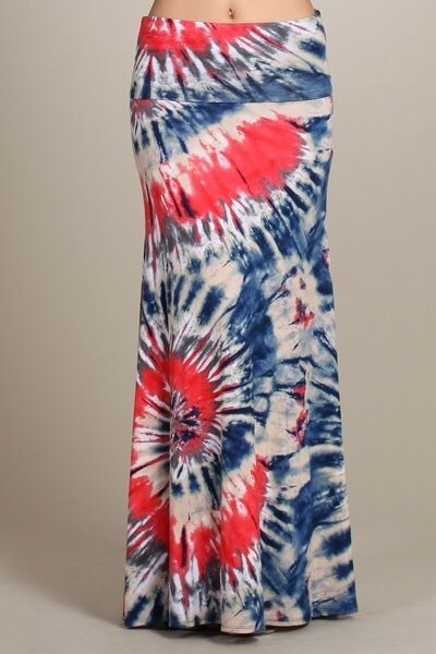 patriotic flare white and blue tie dye print maxi