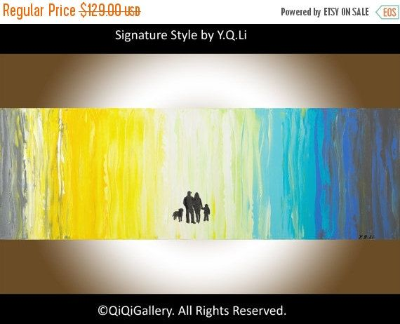 """Valentines sale Oil Painting, family art, wall decor wall art wall hangings abstract impasto Painting""""Stroll"""" by QIQIGallery"""