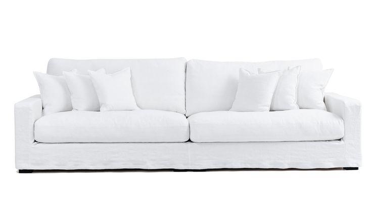 Vit Valen XL avtagbar linneklädsel. Linne, djup, låg, soffa, stor, rymlig, möbler, inredning, vardagsrum, dun. http://sweef.se/sweef-lyx/507-valen-loose-linne-edition.html