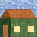 Free Paper-Pieced quilt block pattern for Box House.
