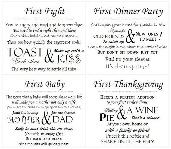 Customized Wedding Wine Poem Tags  PDF by Erially on Etsy, $7.00