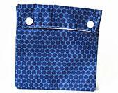 Sac à sandwich et/ou collation réutilisable en tissu points bleus,  sac écologique, emballage alternatif pour le lunch, petite trousse