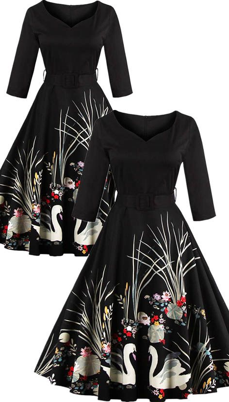 $20.91 Vintage Printed Belted High Waist Dress