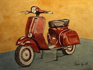 Italy Watercolor Painting - Red Vespa by Juan  Bosco