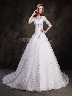 Traîne cathédrale robe de mariée vintage manches mi-longues dentelle perles