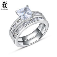 Orsa jewels luxury 1ct quadrados conjuntos de noiva casamento de cristal & anéis de noivado de prata para as mulheres jóias zircão romântico or28(China (Mainland))