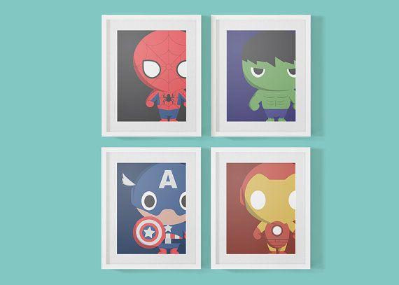 4 Baby Marvel Superheroes Nursery Prints Art Print