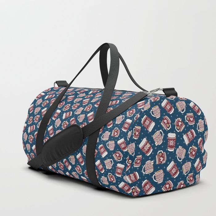 We upped the Duffle Bag game. Your new favorite gym and travel bags feature crisp printed designs on durable poly poplin canvas. Premium details include soft polyester lining with interior zip pocket, an adjustable shoulder strap (with foam pad), carrying handles, double zipper pull tabs for easy open/close, and brushed nickel metal hardware. Available in three sizes. Spot clean only. #Cozy #Mugs #Macchiato #Chocolate #Tea #coffee #hygge #mia #miavaldez #blue #red #society6 #duflebag #bag