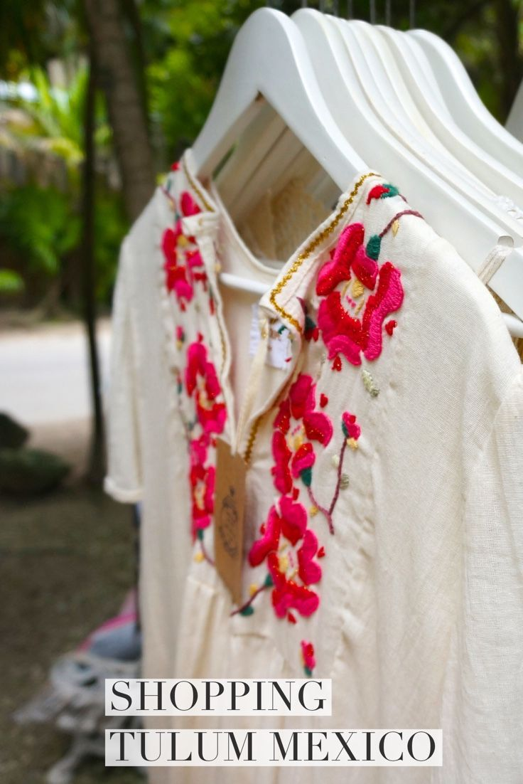 Shop the open air shops along Tulum's beach road for artisan crafts and indie fashion, all locally made travel souvenirs from Mexico. Loved the embroidered caftans as beach cover ups.