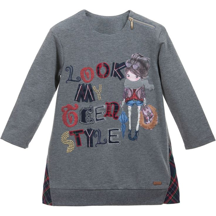 Grey Cotton Jersey Sweater Dress with Applique, Mayoral, Girl