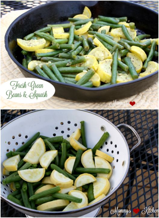 A simple skillet side dish of garden fresh green beans, yellow squash, onions and spices. #garden #gardening #greenbeans #squash #skillet #castiron #dinner