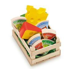 Wooden pretend role play food Erzi play kitchen shop: Crate of Cheese Selection