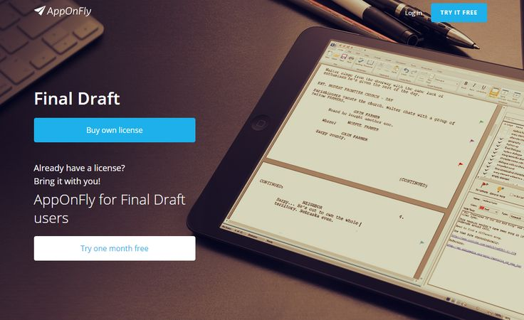 Final Draft is now available in cloud at: www.apponfly.com/en/final-draft?EZE