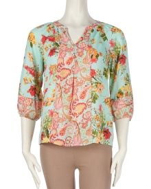 Fig And Flower Floral Paisley Print Chiffon Peasant Blouse A