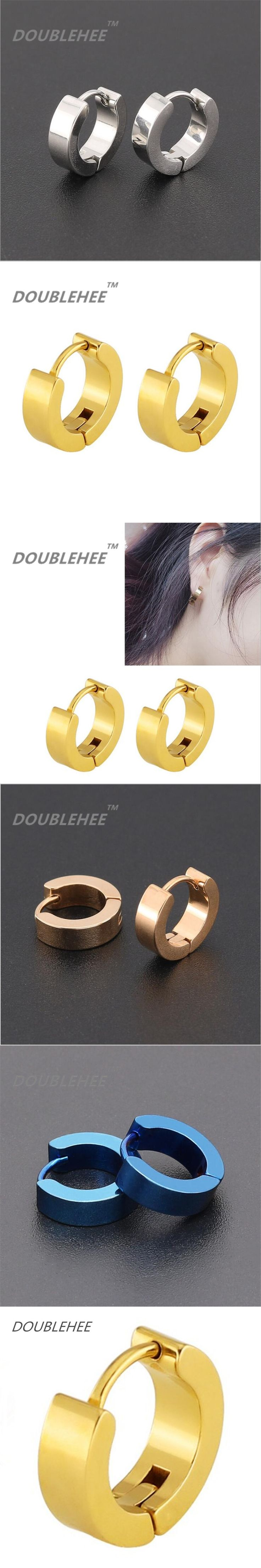 DOUBLEHEE 2017 New Quality Euro and US Pop Brief Flat 9mm Round Circle Earrings 316L Stainless Steel For women and mail