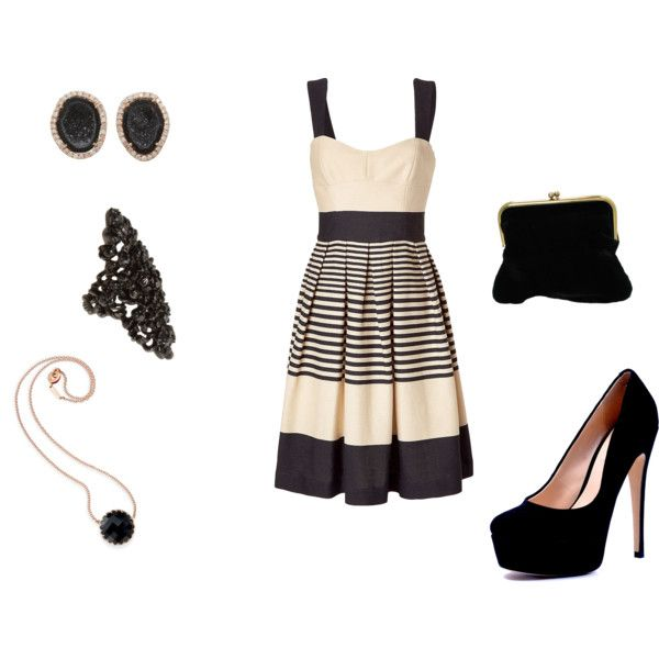 Black and Nude, created by madison-mary-grace on Polyvore: Nude Combinations, Clothes'S Sho, Closets, Nude Outfit, Cute Dresses, Soo Pretty, Clothing Outfit, Horizontal Stripes, Style Fashion