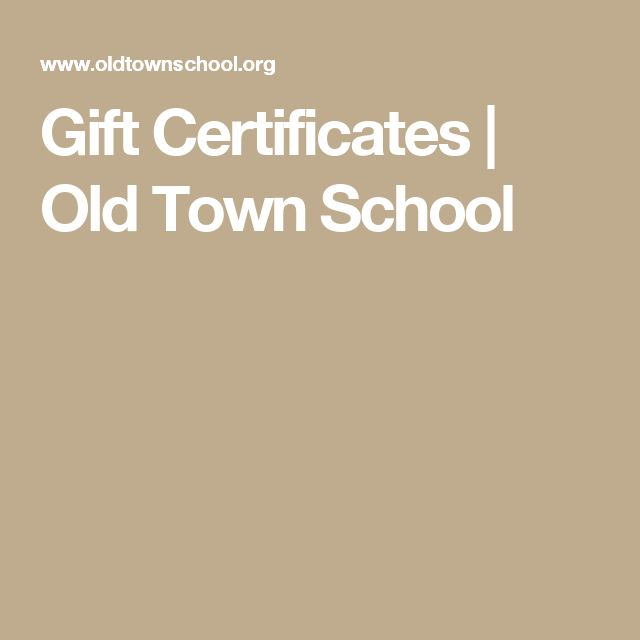 Gift Certificates   Old Town School