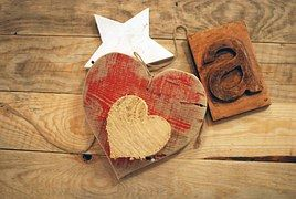 Wood, Heart, Star, Letter