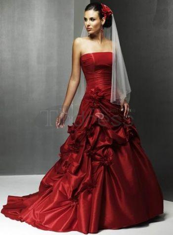 Abiti da Sposa Colorati-Rosso senza spalline abiti da sposa colorati a pieghe fiore