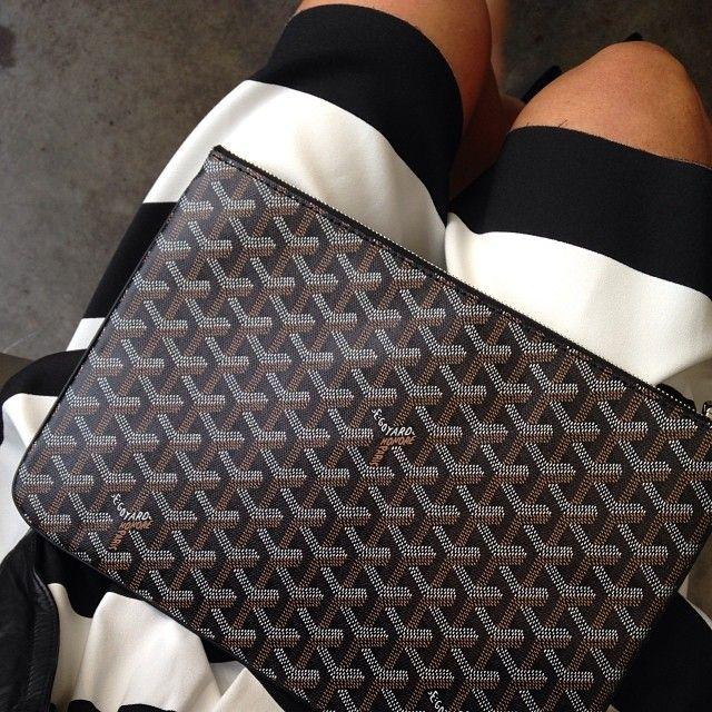Hello new friend #Goyard clutch (thanks personal shopper PS) xx #stripes #addicted