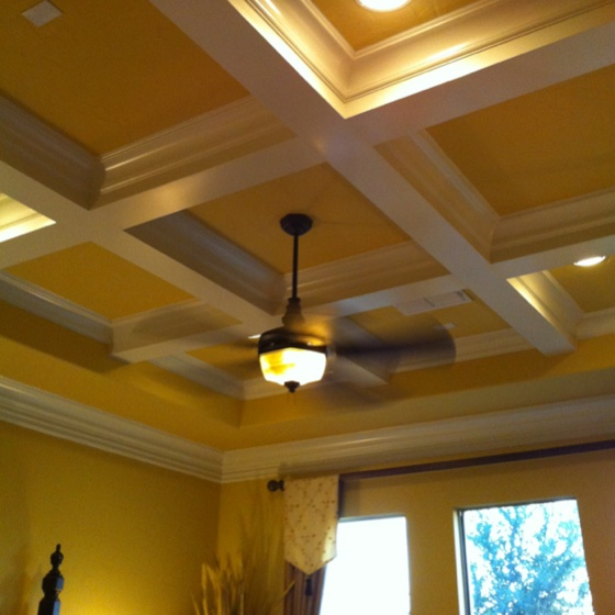 Ceiling With Gorgeous Beam Structure For Master Bedroom