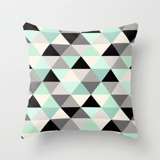 Black and white triangle geometric pattern mint Throw Pillow nursery home decor $20+ @society6