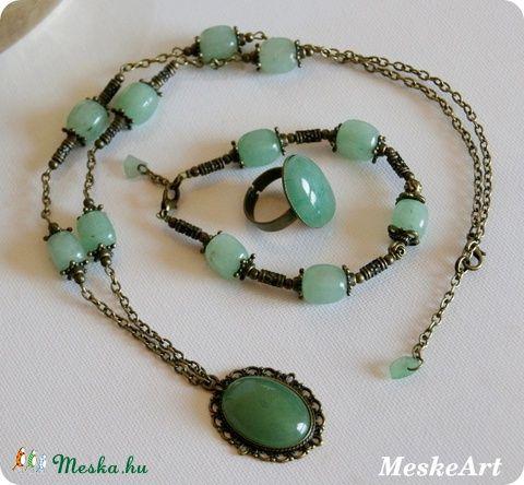 Szívbarát - Zöld Aventurin szett - bronz színű nikkelmentes nyaklánc, gyűrű és karkötő