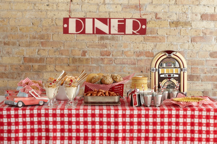 Mom's Diner Baby Shower Theme. Gingham, a little jukebox and diner signage all come together for the perfect brunch buffet.