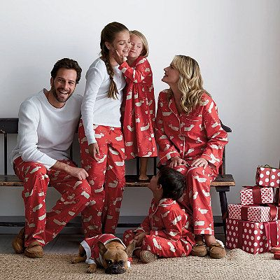 Matching Family Pajamas - 100% cotton flannel pajamas patterned with a flock of leaping reindeer!