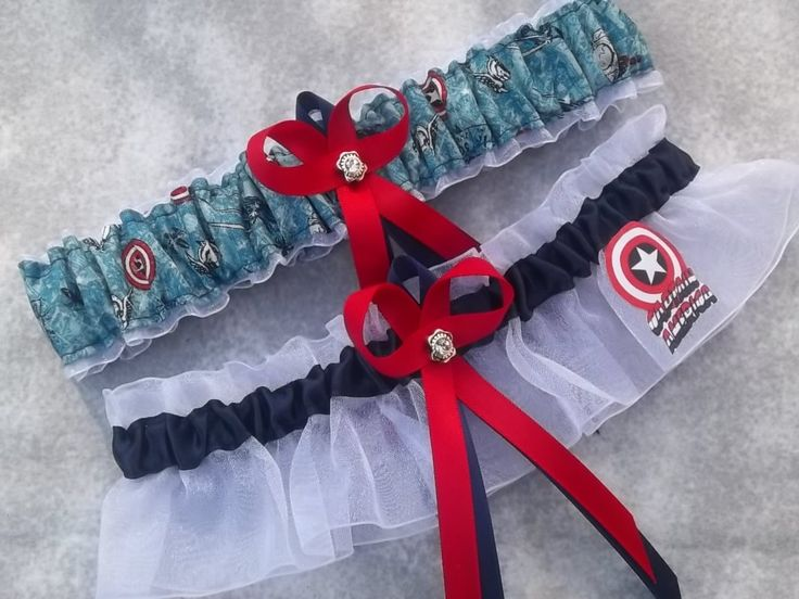 Handmade wedding garters keepsake and toss CAPTAIN AMERICA Marvel Super Hero wedding garter set. $28.00, via Etsy. Keywords: #weddings #jevelweddingplanning Follow Us: www.jevelweddingplanning.com  www.facebook.com/jevelweddingplanning/