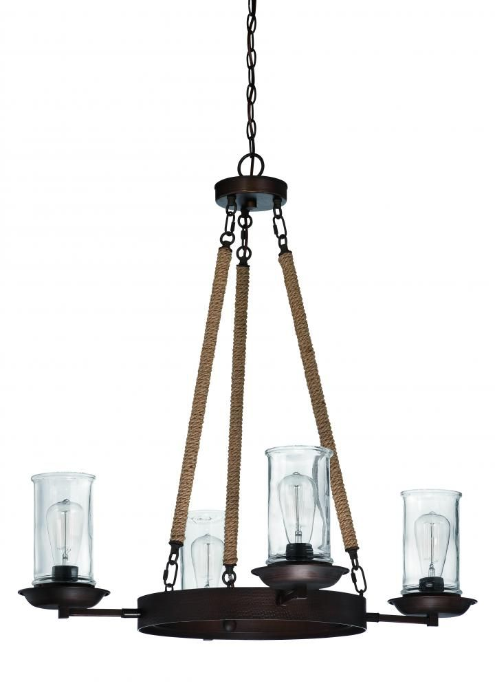 Our Price $339.00  Jeremiah 4-light chandelier in an aged bronze finish with clear glass shades. Reg. Price  572.40