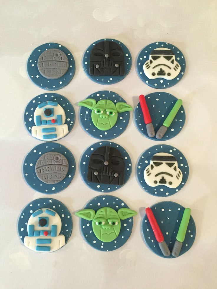 Space Fondant Cupcake Toppers Inspired by Star Wars by LuluBellCakes on Etsy https://www.etsy.com/listing/462002251/space-fondant-cupcake-toppers-inspired