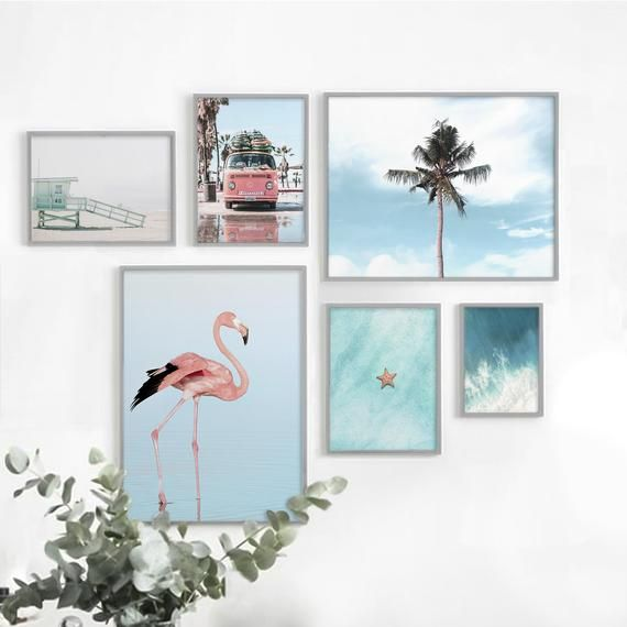 Beach Wall Decor Set Flamingo Print Ocean Printable Wall Art Set