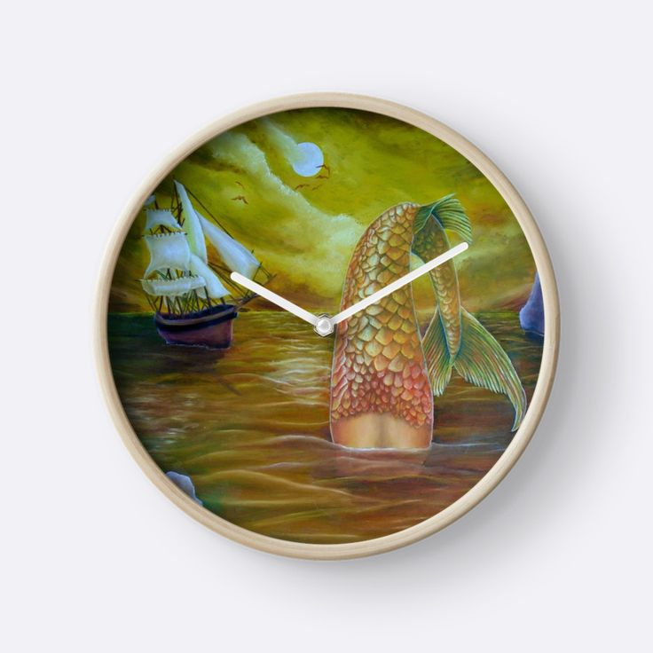 Wall Clock, artistic,decorative,items,fantasy,mermaid,gold,modern,beautiful,awesome,cool,home,office,wall,decor,decoration,ideas,for sale,redbubble
