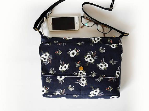 Black crossbody bag black messenger bag Floral print zipper